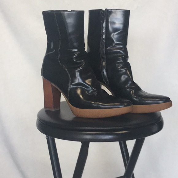 Tod's Black Matte Patent Ankle Boots